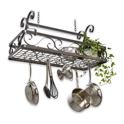 Enclume - Decor Large Basket Pot Rack - Solid steel construction and strong design lines make this a highly sought-after accessory. Store an astounding amount of kitchen essentials without sacrificing style. Enclume's large Décor line basket has scrolled sides and spacious grid surface for versatile configuration. Uncompromising quality at a great price. * Perfect for hanging your prized cookware. Rectangular shape. Can hold a multitude of items form the practical cookware lids and bowls to plants and other kitchen complements. Made from steel. 33 in. L x 15 in. W x 23 in. H. Includes mounting instructions. Minimal assembly required. Strong design lines. Store an astounding amount of kitchen essentials without sacrificing style. Scrolled sides and spacious grid surface for versatile configuration. decor collection