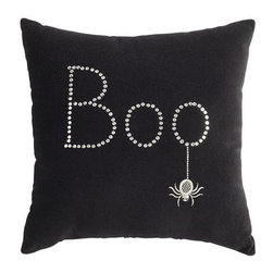 Boo Halloween Pillow - Add a little bling to your couch with sparkles and velvet. Miss Muffett won't be scared of that cute little spider!