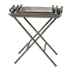 Uttermost - Coyne Folding Tray Table - It's time to toss the TV trays. It's time to move forward because this beautiful set is moving in. Not only is it gorgeous, with two removable trays you can use for serving or displaying objets d'art, it folds up for easy storage.