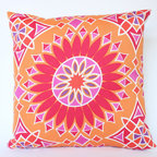 Designer Outdoor Pillow Cover with Trina Turk Fabric on Both Sides - I love the bold color and design on this pillow - it reminds me of a big sunshine. I think it is a great addition inside or out!