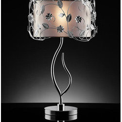 WAREHOUSE OF TIFFANY - Majesta Crystal Table Lamp - This Majesta Crystal Table Lamp creates a glamorous sparkling home accent that complements your modern look. Made of clear crystal, metal & white fabric, stands H34in x D17in, uses Bulb Qty: 1x40W typeE14.