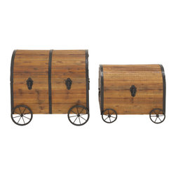 Vintage Themed and Unique Wood Metal Wheel Trunk, Set of 2 - Description: