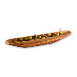 """Berard - Berard Olive Wood Olive Boat - 13.4"""" - Measures 13"""" x 2""""."""