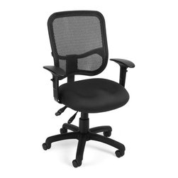 OFM - OFM Mesh Comfort Series Ergonomic Task Chair with Arms in Black - OFM - Office Chairs - 130AA3A05 - Stay comfortable all day with OFM's Modern Mesh Ergonomic Task Chair 130-AA3. The back features built-in lumbar support and breathable mesh gives long-term comfort. Plus the mesh and seat fabric are it stain resistant so the chair keeps its good looks lo