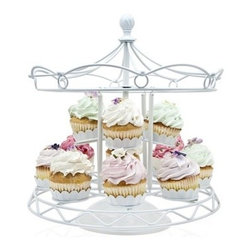 Godinger Silver - White Carousel Cupcake Holder - True carnival style, this carousel cupcake holder will have your delectables going round and round at the next party, birthday celebration, baby shower or even wedding occasion. Cutesy and Whimsical, the white cupcake stand can hold up to 12 of your creatively decorated miniature dessert cupcakes.