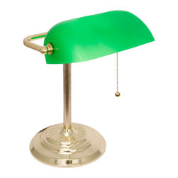 Lightaccents - Banker's Lamp / Desk Lamp with Glass Shade, Brass - Adjustable Thick Glass Swivel Shade
