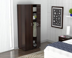 Inval America LLC - Inval 2-Door Contemporary Armoire - The Inval 2-door,2-shelf armoire is a modern and functional storage solution for any home. This armoire is made of engineered wood laminated in double-faced durable Melamine which is stain,heat and scratch resistant.
