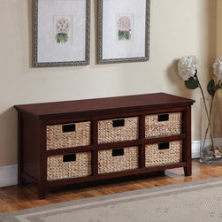 Broyhill - 6-basket Cherry Storage Console - A sleek,simple design makes this Storage Console most appealing for any home d�cor. The piece has a warm cherry finish and includes six rattan storage baskets to elegantly store your common household items out of sight.