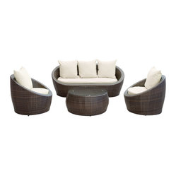 Avo Outdoor Wicker Patio 4 Piece Sofa Set in Brown with White Cushions