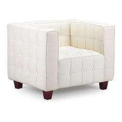 Tufted Club Chair in White - Set the right tone with the Tufted Club Chair. From the ribbing and button pattern to the white leather seating and solid wood legs, this chair adds a sophisticated note to a quiet corner or reading area.