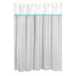 Sweet Jojo Designs - Sweet Jojo Designs Turquoise/ Grey Zig Zag Shower Curtain - Update your bathroom decor with this darling zigzag shower curtain from Sweet JoJo Designs. Featuring a bright,eye-catching blue and white boarder atop an intriguing gray pattern,this bathroom accessory brightens up any small space.