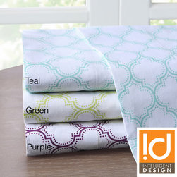ID-Intelligent Designs - Intelligent Design Ogee 200 Thread Count Sheet Set - Ogee's geometric inspired printed motif creates a fun,vibrant look. This 200TC printed cotton sheet set adds comfort and style to your bedroom. Available in teal,purple and green.