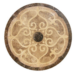 "Floor Medallions Online - 36"" Waterjet Medallion - Bristol - Get lost in the depth of the Bristol Floor Medallions' beauty. Like a powerful vortex, the center black stone draws all viewer's gaze towards the medallion's center."