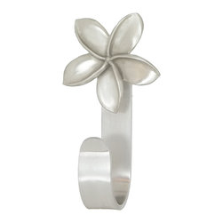 "Plumeria Blossom Towel Hooks - Plumeria Blossom Towel Hooks feature a Peter Costello designed  pewter cabinet knob mounted on a decorative aluminum hook. Available in brushed nickel and a variety of decorator powder coat colors.  Hook measures approx.  5"" tall by 3/4"" wide. Hook opening is 1.5"", mounting hardware included."
