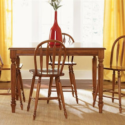 Liberty Furniture - Low Country 5 Pc Gathering Table Set in Suntan Bronze Finish - Includes table and four barstools. One 18 in. butterfly leaf. Saddle shaped seating. Nylon chair glides. Turned legs. Warranty: One year. Made from select hardwood solids and cherry veneers. Made in Malaysia. Barstool: 22 in. W x 18 in. D x 42 in. H (14 lbs.). Table minimum: 54 in. L x 54 in. W x 36 in. H. Table maximum: 72 in. L x 54 in. W x 36 in. H (132 lbs.)