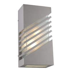PLC Lighting - PLC 1 Light Outdoor Wall Fixture Perlage Collection 16606/CFL SL - -Finish: Silver
