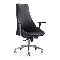 White Line Imports - Natasha Executive High Back Office Chair in Black Leatherette - Features: