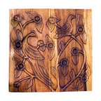 Kammika - Wall Panel Bird Sustain Wood 30x30x2 inch Thick w Eco Friendly Livos Walnut Oil - This lovely Sustainable Monkey Pod Wood Wall Panel Bird 30 inch width x 30 inch height x 2 inch thickness in Eco Friendly, Natural Food-safe Livos Walnut Oil Finish depicts birds roosting peacefully among the graceful, twisting branches of a flowering tree. The effect is engaging, and will add a unique dimension to any setting. Each panel is carved out of joined panels of Monkey Pod wood. To make hanging easier, there are two embedded flush mount Keyhole hangers for a protruding screw from your wall. Hand carved by craftspeople in Thailand, who spend hours shaping, sanding, and finishing these wonders of wood, the talent behind these gorgeous unique creations is readily visible. The panels are made of sustainable wood grown specifically for the woodcarving industry, and are rubbed in natural non toxic eco friendly Livos Walnut Oil that is polished to a water resistant and food safe matte finish. Color ranges from medium to dark Walnut brown tones that will darken as the wood ages. These natural oils are translucent, so the wood grain detail is highlighted. There is no oily feel; and cannot bleed into carpets, as it contains natural lacs. We make minimal use of electric hand sanders in the finishing process. All products are dried in solar and or propane kilns. No chemicals are used in the process, ever. Each eco friendly functional art piece is kiln dried, sanded, rubbed with eco friendly all natural Livos Walnut Oil; and then they are packaged with cartons from recycled cardboard with no plastic or other fillers. As this is a natural product, the color and grain of your piece of Nature will be unique, and may include small checks or cracks that occur when the wood is dried. Sizes are approximate. Products could have visible marks from tools used, patches from small repairs, knot holes, natural inclusions or holes. There may be various separations or cracks on your piece when