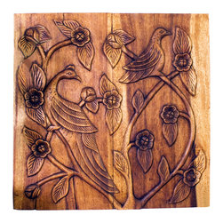 Kammika - Wall Panel Bird Sustain Wood 30x30x2 inch Thick w Eco Friendly Livos Walnut Oil - This lovely Sustainable Monkey Pod Wood Wall Panel Bird 30 inch width x 30 inch height x 2 inch thickness in Eco Friendly, Natural Food-safe Livos Walnut Oil Finish depicts birds roosting peacefully among the graceful, twisting branches of a flowering tree. The effect is engaging, and will add a unique dimension to any setting. Each panel is carved out of joined panels of Monkey Pod wood. To make hanging easier, there are two embedded flush mount Keyhole hangers for a protruding screw from your wall. Hand carved by craftspeople in Thailand, who spend hours shaping, sanding, and finishing these wonders of wood, the talent behind these gorgeous unique creations is readily visible. The panels are made of sustainable wood grown specifically for the woodcarving industry, and are rubbed in natural non toxic eco friendly Livos Walnut Oil that is polished to a water resistant and food safe matte finish. Color ranges from medium to dark Walnut brown tones that will darken as the wood ages. These natural oils are translucent, so the wood grain detail is highlighted. There is no oily feel; and cannot bleed into carpets, as it contains natural lacs. We make minimal use of electric hand sanders in the finishing process. All products are dried in solar and or propane kilns. No chemicals are used in the process, ever. Each eco friendly functional art piece is kiln dried, sanded, rubbed with eco friendly all natural Livos Walnut Oil; and then they are packaged with cartons from recycled cardboard with no plastic or other fillers. As this is a natural product, the color and grain of your piece of Nature will be unique, and may include small checks or cracks that occur when the wood is dried. Sizes are approximate. Products could have visible marks from tools used, patches from small repairs, knot holes, natural inclusions or holes. There may be various separations or cracks on your piece when it arrives. There may be some slight variation in size, color, texture, and finish color.Only listed product included.