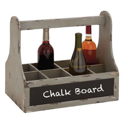 """Benzara - Unique Styled Wood Wine Basket with Blue Chalk Board - Introducing this wood wine basket with blue chalk board that will be a great addition to your wine room. The wine basket with chalkboard is made of quality wood that will last for years. The wine basket comprises of 8 sections and this can hold up to 8 wine bottles safely and systematically. Besides, the wine basket also features chalkboard on its front side on which you can a quote, text or anything that you want to be reminiscent later. This wine basket with chalkboard can be added to any place of your choice.You can also gift Wood metal Box to your dear ones. They'll be surprised to receive this wine basket with chalk board. Put an end to your thoughts and get this exclusive wine basket with chalk board right away. Did you get one? . Wood Wine Basket with Blue Chalk Board measures 18 inches (Width) x 10 inches (D) x 15 inches (H); Made of quality wood; Comprises of 8 sections; Dimensions: 18""""L x 13""""W x 13""""H"""