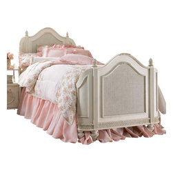 Lea Industries - Lea Emma's Treasures Mansion Bed in Vintage White - Twin - Mansion Bed in Vintage White belongs to Emma's Treasures Collection by Lea Inviting, casual and comfortable easily describes Emma's Treasures from Lea Furniture. Traditional styling mixed with a cozy time-worn appearance creates a collection of youth furniture sure to please any age girl. The distressed vintage white color finish, antiqued pewter-color hardware, the use of cane and crystal-cut mirrors all help create the shabby chic appeal of this group. Special features include vintage patterned drawer liners and hidden compartments on select pieces. Unique pieces include a vanity with bench, a mirrored door chest and a desk that can double as a larger vanity. Take a look at Emma's Treasures and create a room your child will treasure for years to come. And, as always, Emma's Treasures comes with the quality you expect from Lea Furniture. Safety is one of the key elements parents look for when buying products for their children. As a supplier of children's furnishings, we are committed to ensuring our products meet or exceed the safety requirements defined by the Consumer Product Safety Commission and the ASTM. Design and function combined with safety features makes the Emma's Treasures collection an ideal choice for any child's room.  Mansion Bed (1), Rails