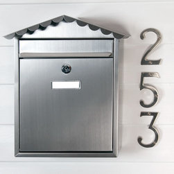 Visit Locking Wall-Mount Mailbox - Stainless Steel - The Visit Locking Wall-Mount Stainless Steel Mailbox has decorative curves leading to the peak of its roof and will instantly add beauty to your home's entrance. The pre-drilled holes on the backplate make installation simple.
