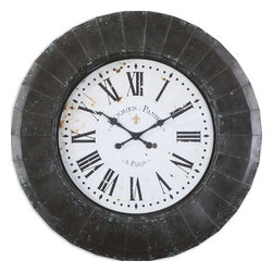 "Uttermost - Peronell 45"" Wall Clock - Let this rustic, hand-forged metal framed clock keep you on your toes and never late again. Finished in black with aged blue accents, this large wall clock will keep you informed and up-to-the-minute. You'll never have to ask the time again no matter how near-sighted you may be."