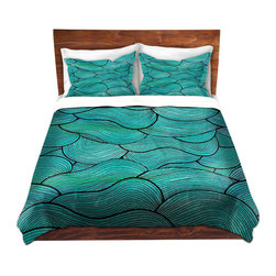 DiaNoche Designs - Duvet Cover Microfiber - Sea Waves Pattern - DiaNoche Designs works with artists from around the world to bring unique, artistic products to decorate all aspects of your home.  Super lightweight and extremely soft Premium Microfiber Duvet Cover (only) in sizes Twin, Queen, King.  Shams NOT included.  This duvet is designed to wash upon arrival for maximum softness.   Each duvet starts by looming the fabric and cutting to the size ordered.  The Image is printed and your Duvet Cover is meticulously sewn together with ties in each corner and a hidden zip closure.  All in the USA!!  Poly microfiber top and underside.  Dye Sublimation printing permanently adheres the ink to the material for long life and durability.  Machine Washable cold with light detergent and dry on low.  Product may vary slightly from image.  Shams not included.