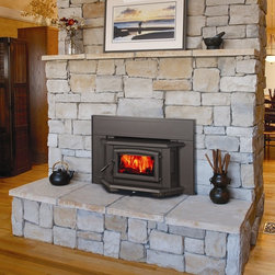 Pacific Energy Super Series 24'' x 21'' Wood Burning Insert Fireplace - The Super Insert offers same great features and performance of the Pacific Insert but with a more refined look and designed to fit tighter fireplaces. The Super Insert, with its large ceramic glass door, gives you the full comfort and view of your log fire. Transform your drafty fireplace in an easy-to-light, easy-to-load reliable source of heat with the convenience of one-touch adjustable temperature control.
