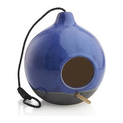 Bird Feeder - Terra cotta teardrop crafts a modern rustic feeding station for feathered friends. Unglazed bottom contrasts with its luminous blue top half, laced with a sturdy rope for hanging and outfitted with a wood perch.
