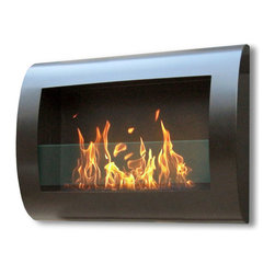 Anywhere Fireplace - Chelsea 90202 - Wall-Mounted Bio-ethanol Fireplace | Anywhere - Anywhere Fireplace Chelsea Black 90202 Bio-Ethanol Fireplace features contemporary design using eco-friendly bio-ethanol fuel.�This wall mount, gracefully curved�Chelsea�model of the�Anywhere Fireplace™�has sleek contemporary design that will make a statement in any room. It works with any d�cor. The dancing flames you will have will create a warm, mellow, luxurious atmosphere. It will create a focal point of distinction in your living room, bedroom, family room, dining room… anywhere you wish to enjoy a fire. Easy to install on the wall and all mounting hardware is included. It USES LIQUID ETHANOL FUEL made only for ventless fireplaces. Never substitute any other fuel. Be sure to NOT confuse it with the bio-ethanol and other fuels sold for cars other none fireplace applications. Manufacturer: Anywhere FireplaceMeasures:�27.5 in. width x 19 in. height x 5 in. depthFuel�- ONLY�Use liquid-bio-ethanol fuel - not includedLocation:�Indoors/Outdoors