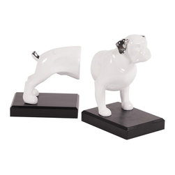 Howard Elliott - White Ceramic Dog on Black Base - set of 2 bookends - This set of book ends feature a dog front and back with silver accents. Bright white ceramic set on a black base.