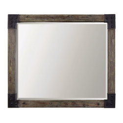 """Silver Nest - Trula Mirror- 46""""x41"""" - Weathered wood frame with an aged gray wash and rustic black corner accents. Mirror features a generous 1 1/4"""" bevel. May be hung horizontal or vertical."""