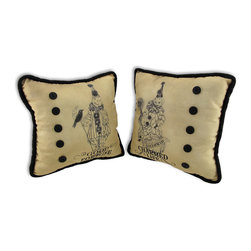 Zeckos - Bethany Lowe Pair of Decorative Halloween Clown Throw Pillows 9 In. - Good fortune' and a 'Charmed life' are what this pair of pillows will bring to your home. Each pillow measures 9 inches by 9 inches and features a Halloween clown atop a pumpkin on the front and a coordinating polka dot print on the back. The pillows are accented by a row of buttons down one side and black felt around the edges. They are made of nylon and stuffed with polyester stuffing. This pair makes a nice gift for a Halloween loving friend, and these pillows are an adorable accent to chairs or couches.