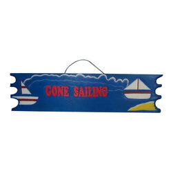 """Handcrafted Nautical Decor - Wooden Gone Sailing Sign 39"""" - Our Wooden Gone Sailing Sign 39"""" is the perfect choice to display your affinity for decorating a beach house. Place this sign in a beach kitchen, use as a coastal decorating idea, or hang this up as part of your beach bedroom decor. Given all the options, one thing is for certain, you are sure to inject the beach lifestyle into your humble abode."""
