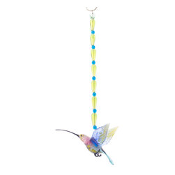 Spirit Pieces - Lampwork Glass Hummingbird Ornament - Great for Hummingbird Gardens - A lovely addition to any inside or outside local, this Spirit Piece sports a handmade Lampwork hummingbird with Yellow and Blue Crystal Beading topped off by a crystal butterfly.  This is a great item to get for inclusion in a hummingbird garden or hang by plants and flowers hummingbirds frequent.    You can even hang this from a Hummingbird House.
