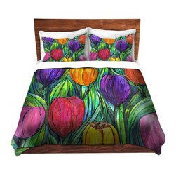 DiaNoche Designs - Duvet Cover Twill - Tulip Patch - Lightweight and super soft brushed twill Duvet Cover sizes Twin, Queen, King.  This duvet is designed to wash upon arrival for maximum softness.   Each duvet starts by looming the fabric and cutting to the size ordered.  The Image is printed and your Duvet Cover is meticulously sewn together with ties in each corner and a concealed zip closure.  All in the USA!!  Poly top with a Cotton Poly underside.  Dye Sublimation printing permanently adheres the ink to the material for long life and durability. Printed top, cream colored bottom, Machine Washable, Product may vary slightly from image.