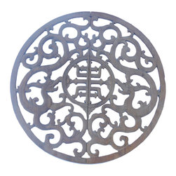 "Golden Lotus - Chinese Half Round Wood Ancient Dragon Longevity Panel - This is a set of two half round wooden panels in oriental ancient dragon pattern with old font Chinese "" Longevity "" character at the center."