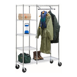 Honey Can Do - Heavy Duty Urban Valet - 3 adjustable side shelves. Reinforced hanging bar. 4 deluxe non-marking casters. 2 locking casters. 68 in. H x 48 in. W x 18 in. D