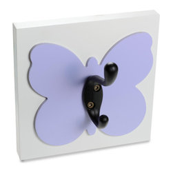 Homeworks Etc - Homeworks Etc Butterfly Single Wall Hook, lavender - Decorative butterfly themed wall hook for the nursery and kids room. Great for hanging towels, clothes, and more.
