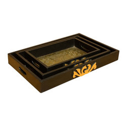 Sierra Living Concepts - Golden Wood & Brass Trays Set of 3 - Space is valuable and our Golden Palace Stackable Trays Set makes the most of it. These handmade high sided serving trays are made with solid mango wood, a tropical hardwood that is also an eco-friendly choice because it is grown as a sustainable crop. The small, medium, and large tray each has a decorative brass interior, hand holes cut at each end, and decorative brass covered designs on the sides. The rectangular tray set stacks neatly together when not in use.