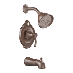 "Moen - Moen T2503ORB Oil Rubbed Bronze Tub/Shower Valve Trim, 1-Function Cartridge - Moen T2503ORB is part of the VESTIGE bath collection. Moen T2503ORB is a new bathroom decor style by Moen. Moen T2503ORB has an Oil Rubbed Bronze finish. Moen T2503ORB Posi-Temp Tub and Shower valve only trim fits any MPact common valve system or MPact Posi-Temp 1/2"" valve available separately. Moen T2503ORB is part of the Vestige bath collection with its richly detailed lines featuring nostalgic designs and accents that complement traditional decor for today's homes. Moen T2503ORB Tub and Shower valve trim includes single-function pressure balancing Cartridge. Back to back capability. Moen T2503ORB is a single handle Tub and Shower valve trim only, the handle adjusts temperature. Moen T2503ORB valve only single handle trim provides for ease of operation. Moen T2503ORB Posi-Temp pressure balancing valve maintains water pressure and controls temperature. Moen T2503ORB includes Moenfl"" xL single function Showerhead 2.5 GPM max., and a 7? slip-fit diverter tub spout. Moen T2503ORB is ADA approved. Oil Rubbed Bronze is an exclusive finish from Moen and provides style and durability. Moen T2503ORB metal lever handle meets all requirements ofADA ICC/ANSI A117.1 and CSA to meet CSA B-125, ASME A112.18.1 M. Lifetime Limited Warranty."
