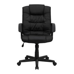 Flash Furniture - Flash Furniture Office Chairs Leather Executive Swivels X-GG-AEL-KB-M739-OG - Affordable leather computer chair will provide you with the comfort needed for browsing the internet. The mid-back design makes it a perfect desk chair especially for smaller work spaces, but still doesn't compromise on its appeal and features. [GO-937M-BK-LEA-GG]