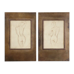 Bronze Figures Art Set of 2 - *Plated, Oxidized, Golden Bronze Frames With Heavy Antiquing Stain Accent This Artwork. Frame's Inner Lips Are A Darker Bronze Color. Prints Are Under Glass.