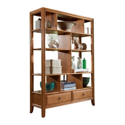 American Drew - American Drew Antigua Etagere in Toasted Almond - Antigua combines popular materials, finishes, hardware and shapes and blends them with pieces for today's lifestyles. It is a collection sure to add a sophisticated coastal or tropical flare to any home. Unique options for bedroom make it easy to create the perfect setting that fits your style.