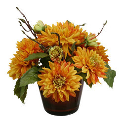 Dahlias in Bronzed Glass Vase