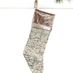 Tres Jolie Collection French Script Stocking - The French script and velvet trim on this stocking would be perfect for a Victorian-style Christmas theme. It's an absolutely lovely stocking.