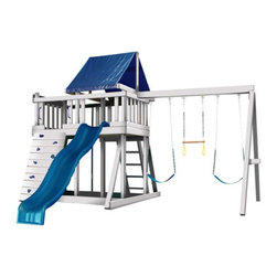 Kidwise - Congo Monkey Playsystem #1 with Swing Beam - MKY-1-SB-GR - Shop for Swings Slides and Gyms from Hayneedle.com! There's no need to pack up for the trek to the park when your kids can have their very own jungle gym in the backyard with the Congo Monkey Playsystem #1 with Swing Beam. This swingset includes a sampling of all the playground favorites to entertain the whole neighborhood.Playsystem includes: Huge covered fort measures 7.5L x 4W feet for cooperative imaginary play 5-foot tall rock wall with 10 composite rocks for challenging yet safe climbing Easy-to-scale ladder for younger kids Whoosh to the bottom on the wonder wave slide Fireman's pole for exhilarating role play games Sandbox fosters rare moments of quiet civilized play 3-position swing beam supports 2 swings and a trapeze bar for circus-quality funAbout the Assembly: Premium treated Western Timber lumber is pre-cut and pre-drilled for fast foolproof assembly Includes owner's manual with step-by-step illustrated assembly instructions. More than one person is recommended for assembly of this playset; assembly will take between 8-16 hours depending on your experience level Place the playset on level ground with a 6-foot safety zone around the entire playset Wooodguard Polymer Coated Lumber is 100% maintenance and splinter free will not chip crack peel twist warp fade in the sun or become brittle in cold weather Eco-friendly polymer treatment uses recycled plastics and no harmful chemical treatments. Lumber has been safety-tested for lead and phthalates while a non-toxic borate treatment protects against rot and termites No need to paint seal finish or sand ever again just spray with a bio-degradable cleaner such as Simple Green and rinse clean Lumber is covered by a 10 year Woodguard warranty; non-wooden parts carry a one-year warranty against manufacturer's defectsAbout Kidwise ProductsThis item is made by Kidwise Outdoors a company whose focus is safe fun excitement for kids. Kidwise strives t