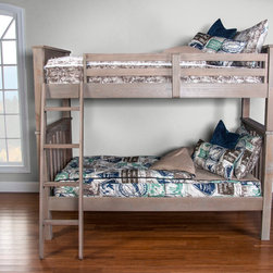 "Zippered Bedding for One Bunk Bed - Two Twin Mattresses - This photo is showing the new zippered bedding ""Bunkie"".  It is an all in one piece product for bunk beds.  No sheets are required and it comes with two under bed straps to hold it in place.  Available in a large number of fabrics and standard bed sizes.."