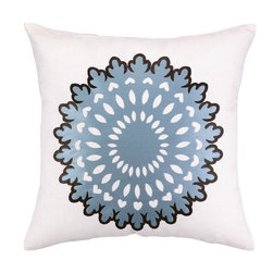 COCOCOZY - Cococozy Wauwinet Pale Blue/Brown Pillow - Embroidered pillow by Cococozy